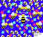 Honeybees, blue, flowers, bees, cotton fabric