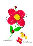 Spring flowers, red flower, birthday card