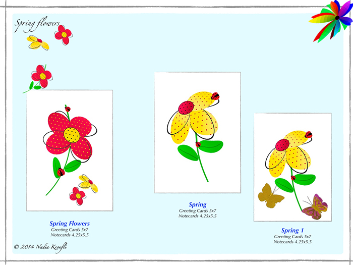greeting cards, birthday cards, spring flowers, butterflies, ladybug, ladybird
