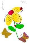 Yellow flower, greeting card, butterflies, ladybug