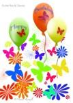 Balloons, butterflies, daisies, birthday card