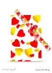 Nadia Kronfli, gift wrap, red & yellow hearts