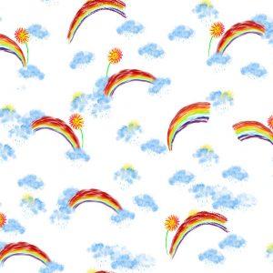 children pattern of rainbows & butterflies