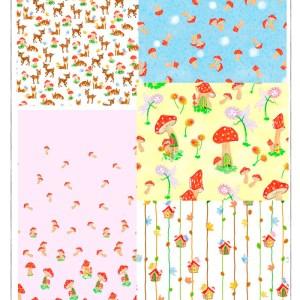 children patterns of deer, foxes mushrooms, birds ,butterflies & fairies