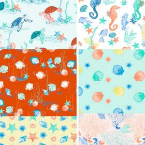 patterns for children of turtles, shells, seahorses