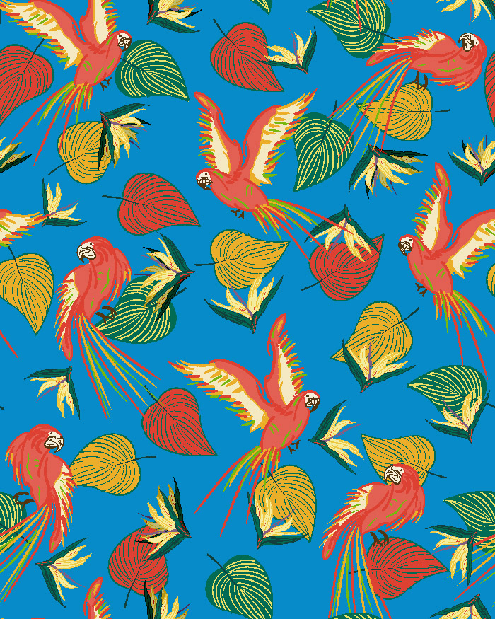 Tropical pattern with parrots, leaves & birds of paradise flowers.