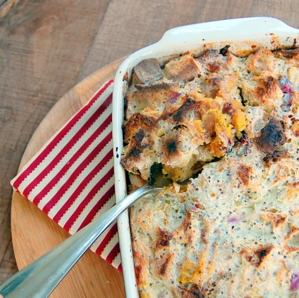 Buttermilk Bread Pudding with Roasted Cranberries and Acorn Squash