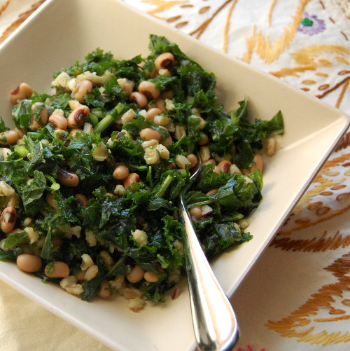 Kale Salad with Blackeyed Peas and Barley
