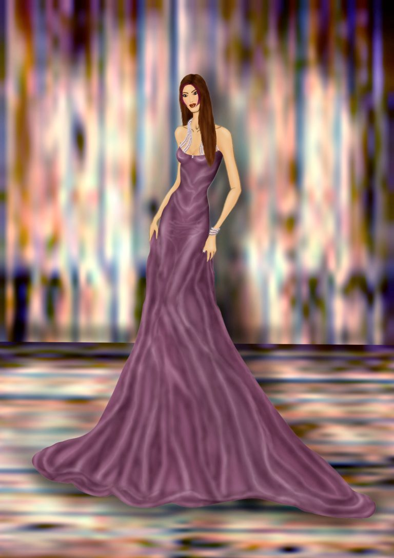 Purple party gown