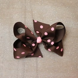 Brown Boutique Bow with Pink Polka Dots