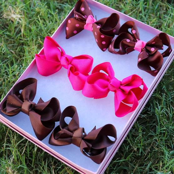 brown and pink mini boutique bows, brown and pink mini boutique bows, mini boutique bows, bows for babies