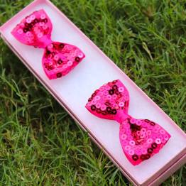 hot pink sequence bows, hot pink bows, sequence bows, bowtie bows, sequence bowtie bows, pigtail bows,