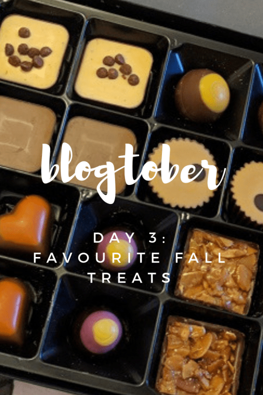 """the spicy bean - photo of chocolates overlayed the the text """"blogtober - day 3 - favourite fall treats"""""""