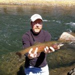 "Gunnison River rainbow caught on brown-gold glitter mayfly nymph (""pinchoro"") 051"