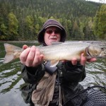 Bull trout in BC on orange salmon egg