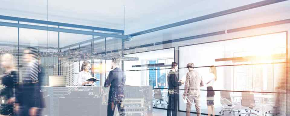 Modern office interior with a white reception counter, business people talking and glass wall offices in the background. 3d rendering mock up toned image double exposure
