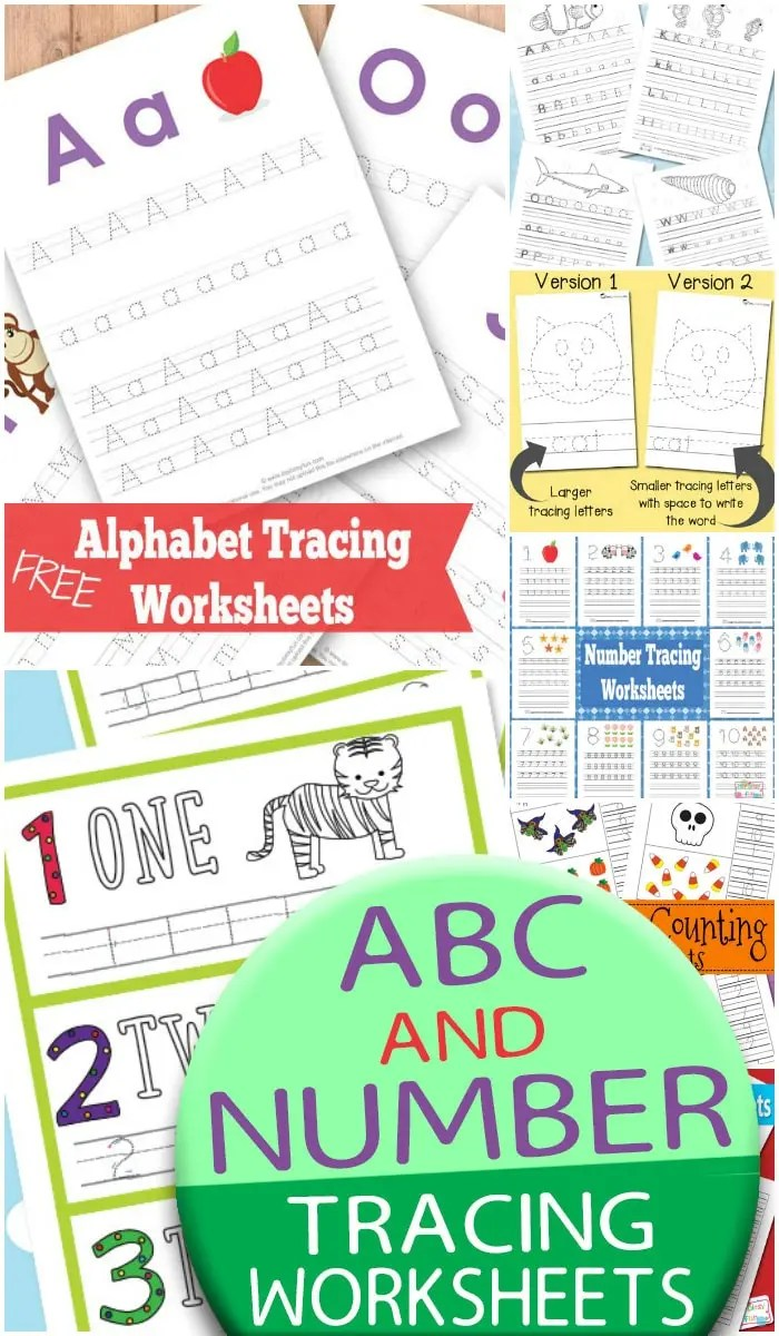 hight resolution of ABC and Number Tracing Worksheets - itsybitsyfun.com