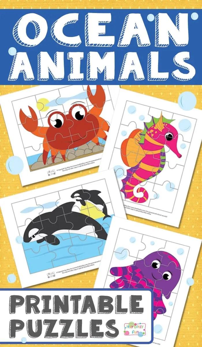 medium resolution of Ocean Animals Printable Puzzles for Kids - itsybitsyfun.com