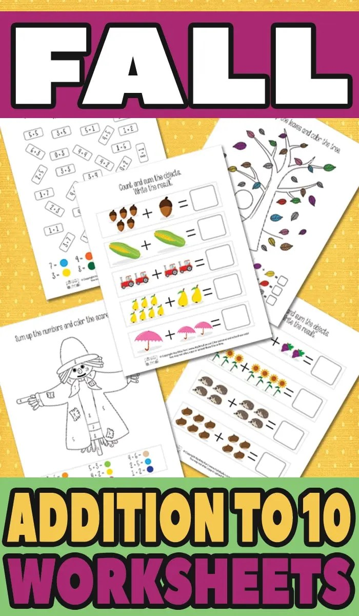 hight resolution of Fall Addition Worksheets to 10 - itsybitsyfun.com