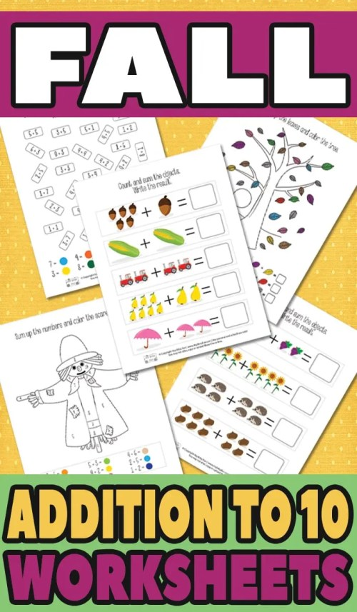 small resolution of Fall Addition Worksheets to 10 - itsybitsyfun.com