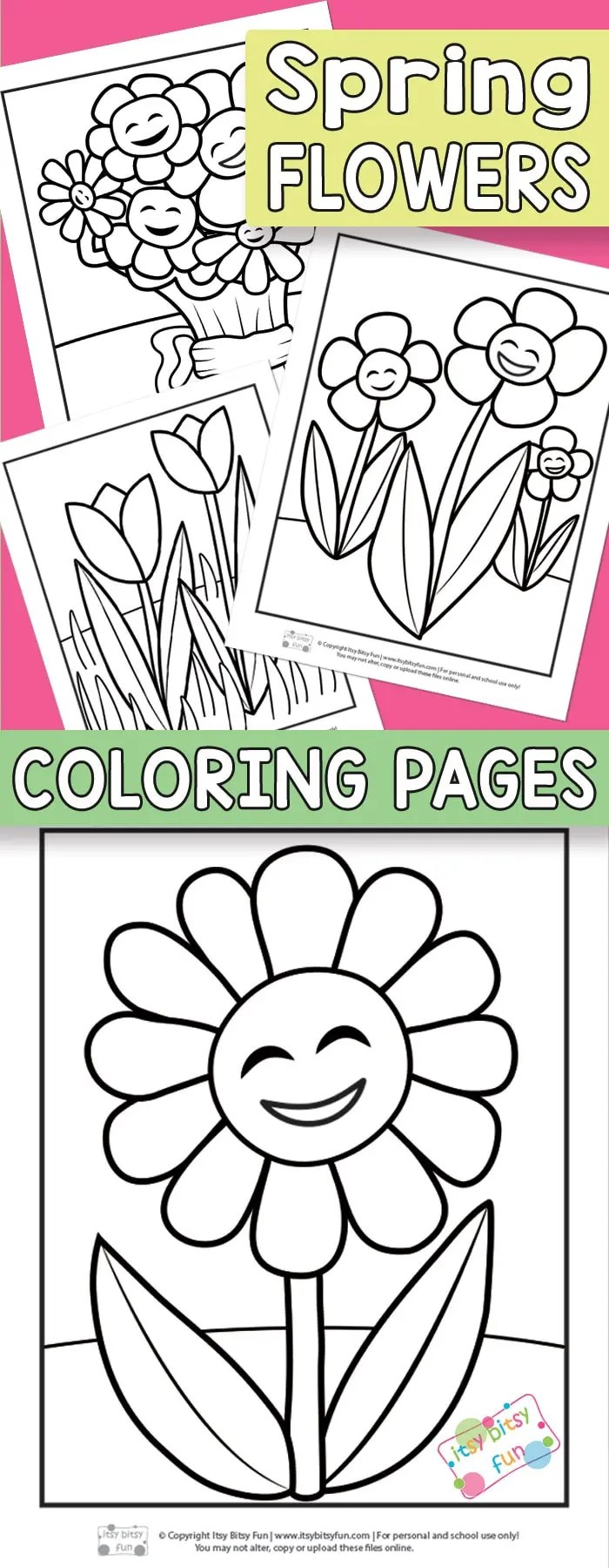 Flower Coloring Pages for Kids - Itsy Bitsy Fun | flower coloring pages preschool