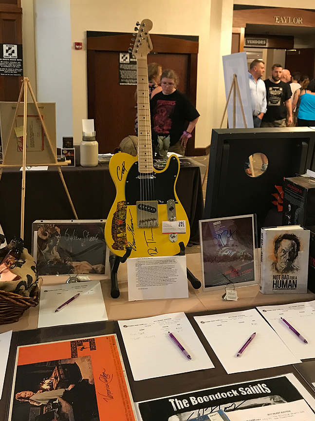 The Horror Show Axe sits proudly on the auction table at the Scares That Cares Charity Weekend.