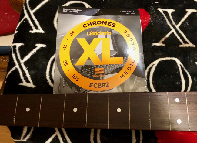 These D'Addario Chromes are tight and bright, but don't damage the fretboard.