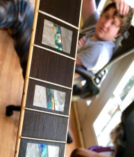 Rocco admires Lady Jane's big, blocky fretboard inlays.