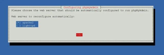 Install phpMyAdmin on Debian 9 - Select Web Server