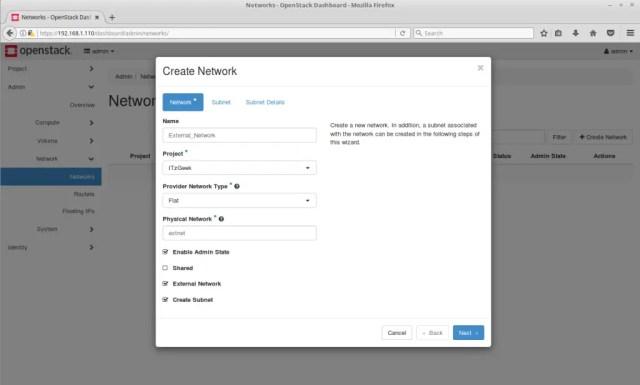 Configure OpenStack Networking - Create OpenStack External Network