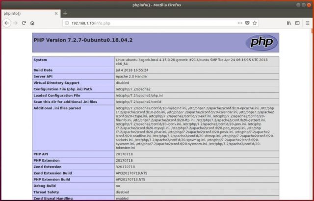 Install LAMP stack on Ubuntu 18.04 - PHP Information