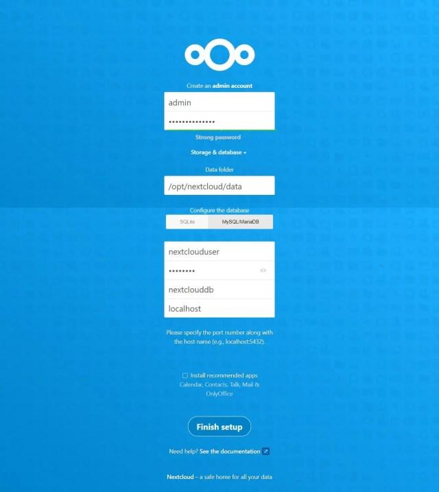 Nextcloud Admin Account & Database Details