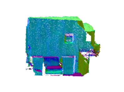 3D point clouds with normal vectors color mapped visualization