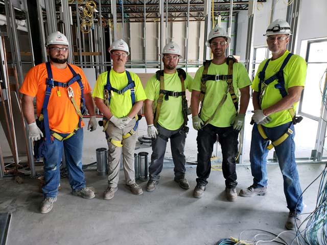 L85 Schindler construction crew working in Grand Rapids