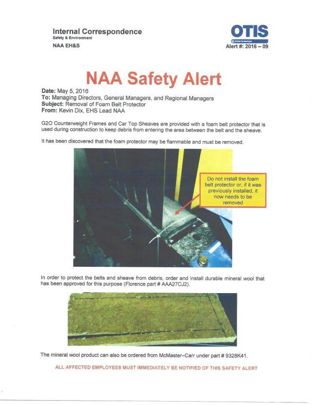 Otis NAA Safety Alert - Foam Belt Protector
