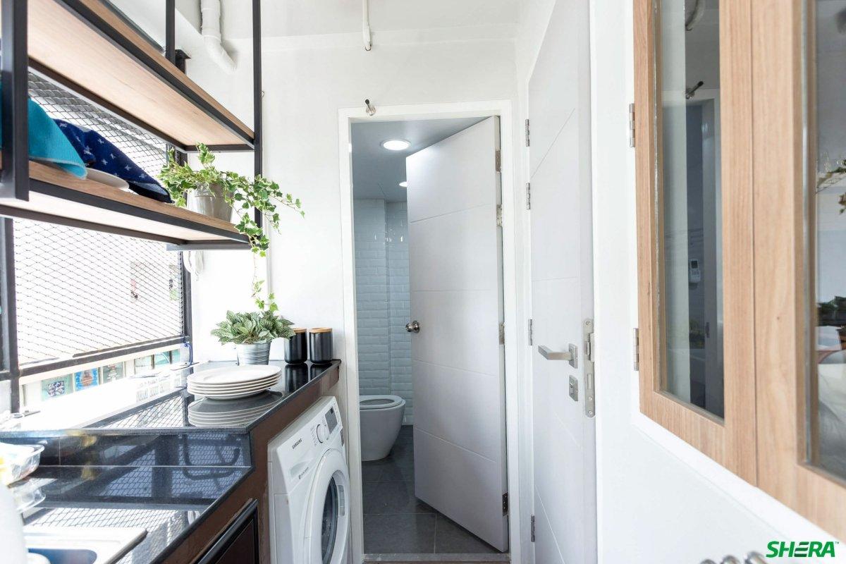 shera 07 รีโนเวทบ้าน แปลงคอนโดเก่าเป็นสไตล์ Loft และประตูสวยทนด้วยไฟเบอร์ซีเมนต์จาก Shera