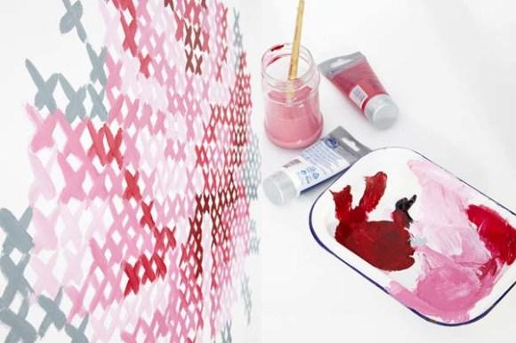 DIY: Wallpaper Еmbroidery ♥ 14 - Cross-stitch