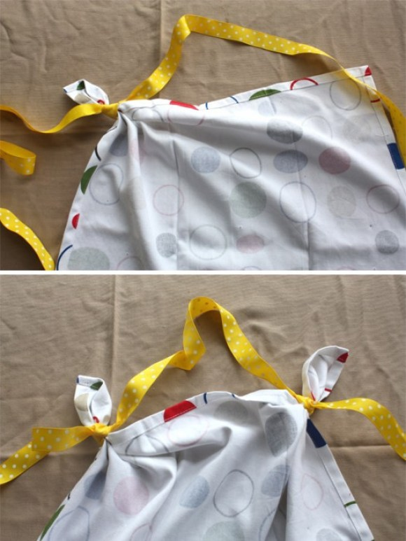 tea towel apron3 580x773 DIY: Aprons From Tea Towels Without Sewing for Moms Day