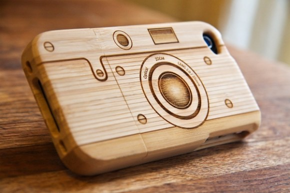 Wood camera Iphone4 case 15 - bamboo