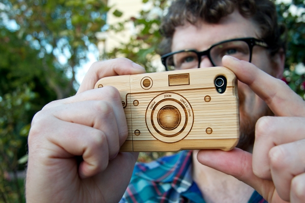 Wood camera Iphone4 case 13 - bamboo