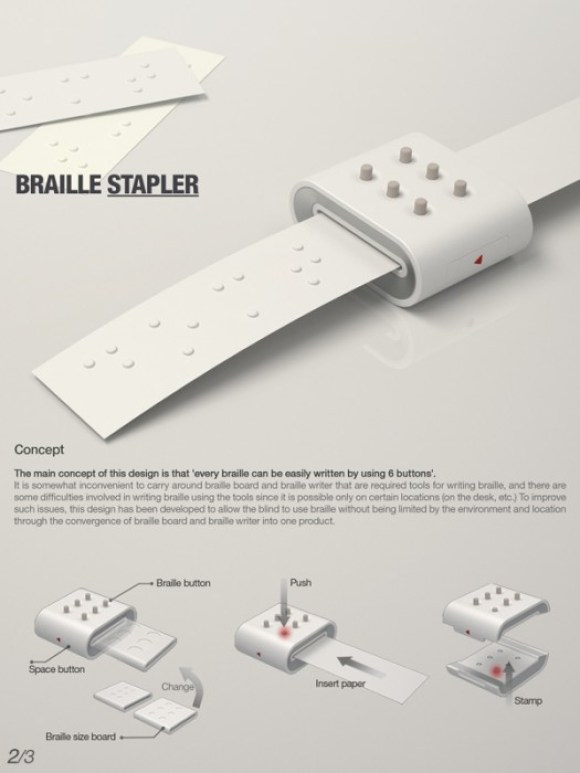 Braille stapler งานออกแบบเพื่อผู้บกพร่องทางสายตา 15 - blind