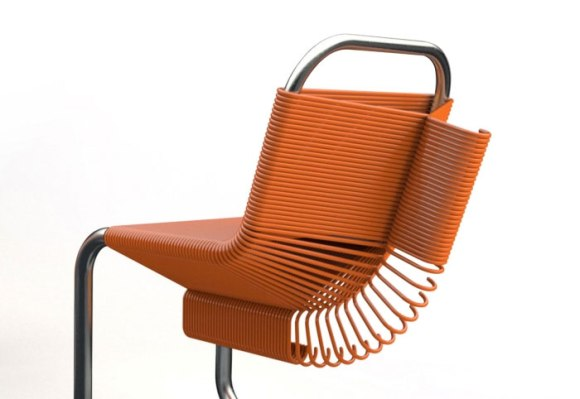 brown furniture 580x399 Chairs Made from Plastic Coat Hangers เก้าอี้ไม้แขวน