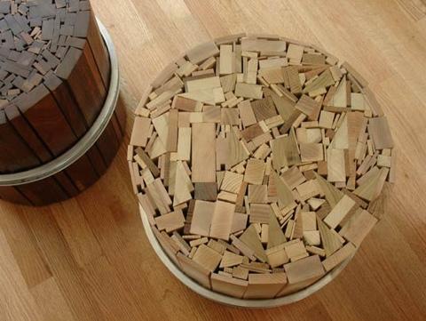 เก้าอี้สตูลจากไม้เก่าและโครงล้อจักรยานเก่า 28 - รีไซเคิล