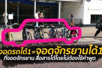 """ที่จอดจักรยานสร้างแคปเปญฉลาดๆ """"เชื่อหรือไม่? ที่จอดรถ 1 คัน จอดจักรยานได้ถึง 10 คัน"""""""
