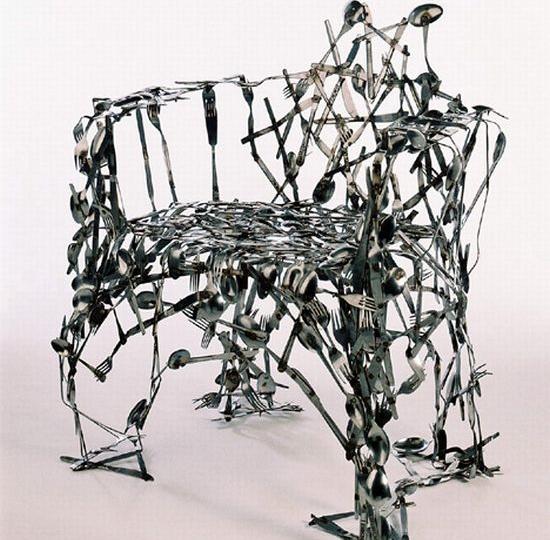 recycled cuttlery chair 69 D.I.Y CUTLERY UPCYCLING เปลี่ยนช้อนส้อมที่ผุพัง สู่ของตกแต่งดีไซน์ครีเอท