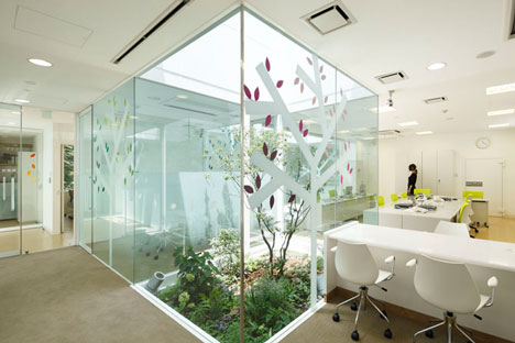 dzn SugamoTokiwadai11 หน้าต่างมีสี..และลวดลายใบไม้ ที่ปลิวมาจากหน้าต่าง..สร้างความรู้สึก สุข..สดชื่น..กับลูกค้า