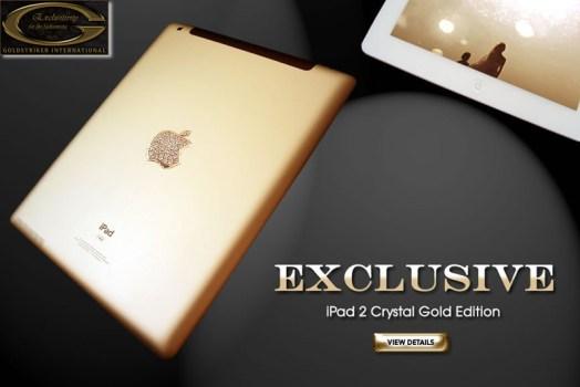 "iPad 2 Crystal Gold Edition from Stuart Hughes 524x350 iPad 2 Crystal Gold Edition ""ไอแพด 2 แพงที่สุดในโลก"" เครื่องละ 246 ล้านบาท"