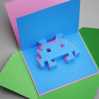 DIY.space invader pop-up card 15 - card