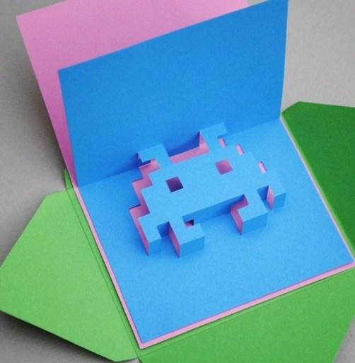 DIY.space invader pop-up card 23 - card