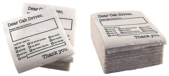 Dear Cab Driver Napkins...กระดาษชำระเงิน 5 - Dear Cab Driver Napkins.